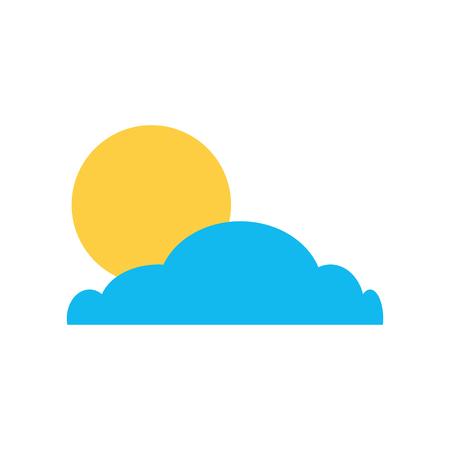 Cloud with sun summer icon vector illustration design