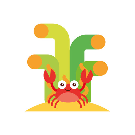 Cute crab sealife character vector illustration design