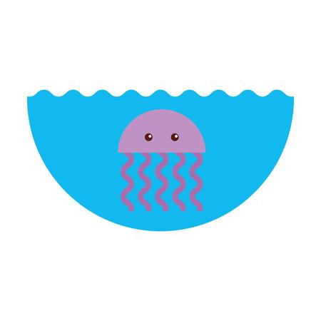 cute jellyfish sealife icon vector illustration design Çizim
