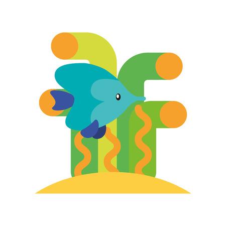 Sea fish swimming icon vector illustration design Illustration