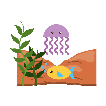 かわいいクラゲ シーライフ アイコン ベクトル イラスト デザイン