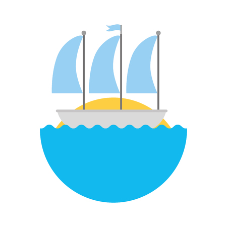 sailboat marine isolated icon vector illustration design Illustration