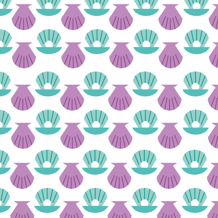 Sea shell pattern background vector illustration design