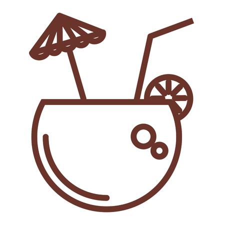 Kokosnotencocktail met ontwerp van de paraplu het vectorillustratie Stock Illustratie