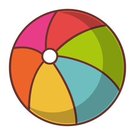 Vector de illustratieontwerp van het ballonstrand geïsoleerd pictogram Stock Illustratie