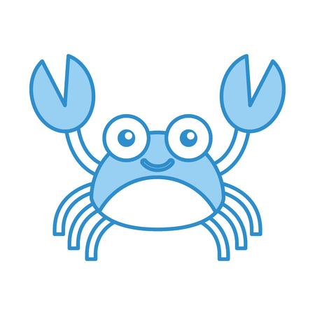 Cute crab sealife character vector illustration design