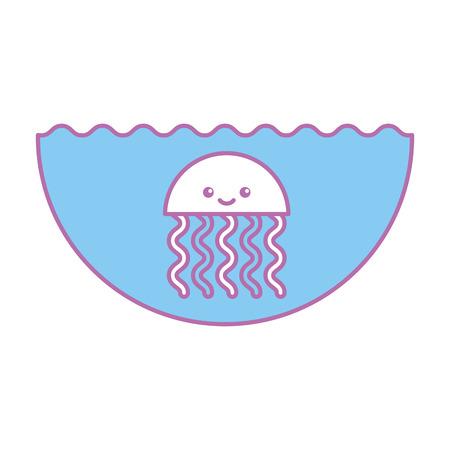Cute jellyfish sealife icon vector illustration design Ilustração