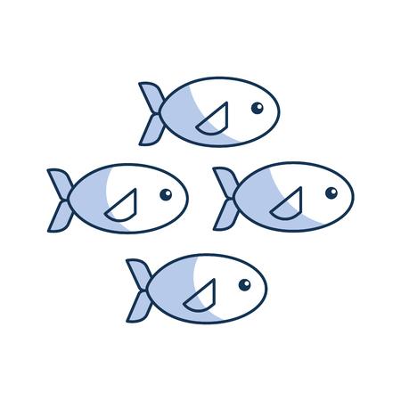 ecosistema: Banco de iconos de peces diseño de ilustración vectorial