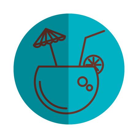 coastal: coconut cocktail with umbrella vector illustration design