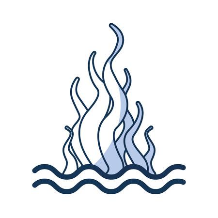 Mariene zeewier sealife pictogram vector illustratie ontwerp