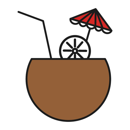 coconut cocktail with umbrella vector illustration design