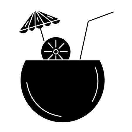 ココナッツ カクテル傘ベクトル イラスト デザイン