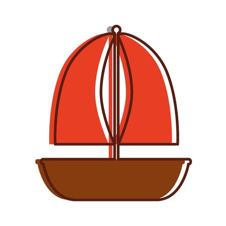 Vector de illustratieontwerp van het zeilboot marien geïsoleerd pictogram Stock Illustratie