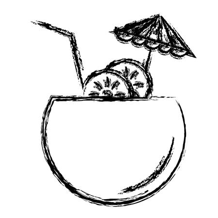 coconut cocktail with umbrella vector illustration design