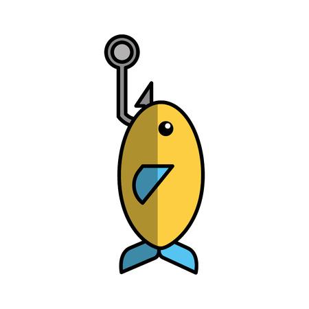 Fishhook with fish icon vector illustration design 向量圖像