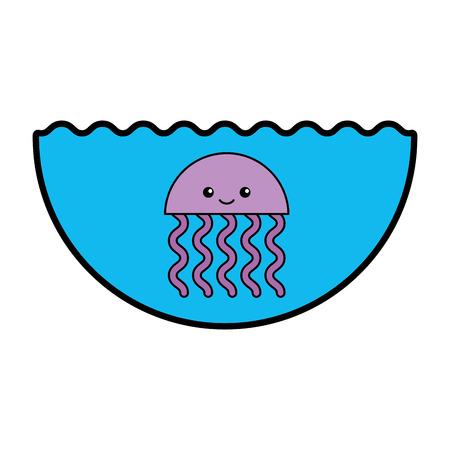 cute jellyfish sealife icon vector illustration design Illustration
