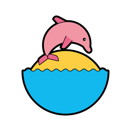 cute dolphin isolated icon vector illustration design 向量圖像
