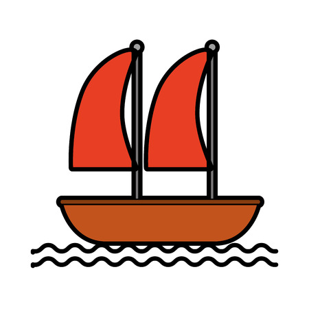 sailboat marine isolated icon vector illustration design Ilustrace
