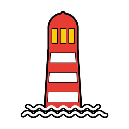 zee vuurtoren geïsoleerd pictogram vector illustratie ontwerp