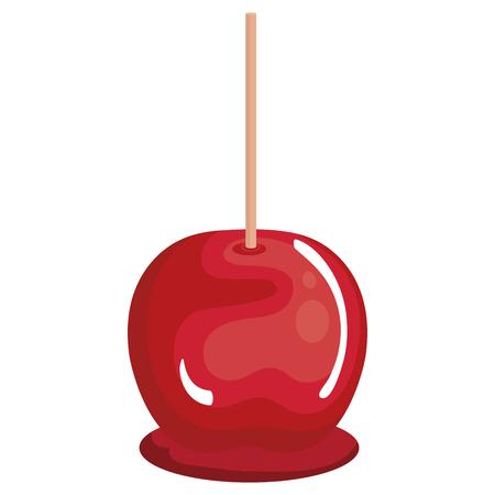 Diseño aislado del ejemplo del vector del icono de la manzana de caramelo Foto de archivo - 80857066