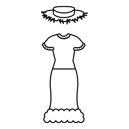 여성 전형적인 농부 의상 아이콘 벡터 일러스트 디자인 일러스트