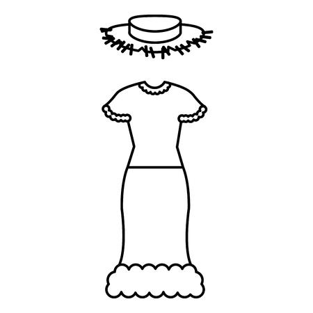 female Typical farmer costume icon vector illustration design 向量圖像