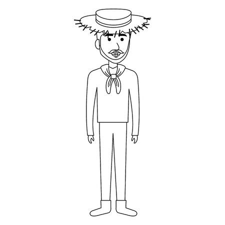 man in farmer costume vector illustration design