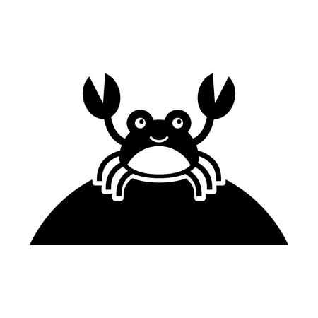 かわいいカニ海生活文字ベクトル イラスト デザイン