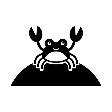crustaceans: Cute crab sea life character vector illustration design