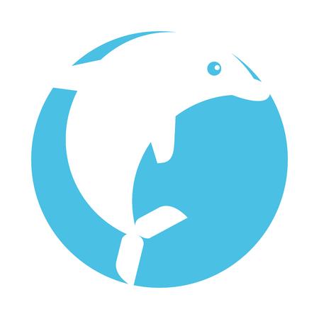 Leuke dolfijn geïsoleerd pictogram vector illustratie ontwerp Stock Illustratie