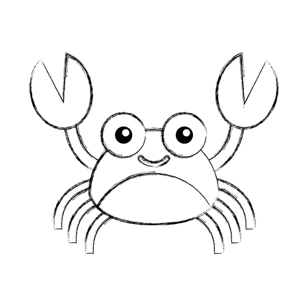 Cute crab sea life character vector illustration design