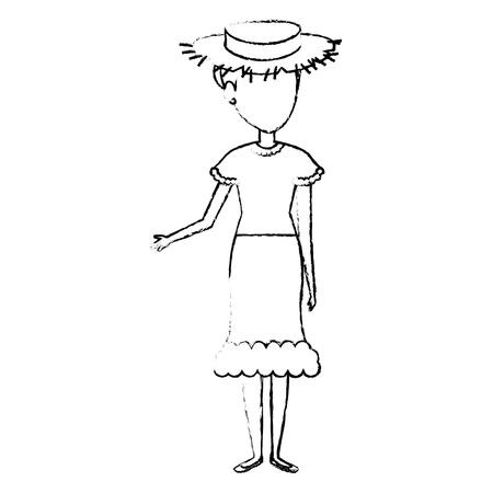 Woman in farmer costume vector illustration design