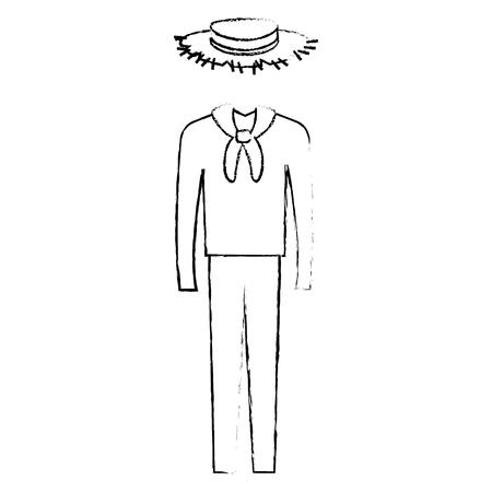 男性の典型的な農家コスチューム アイコン ベクトル イラスト デザイン