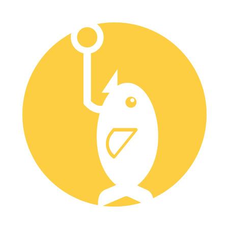 Fishhook met vis pictogram vector illustratie ontwerp