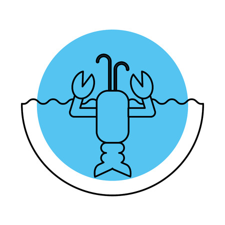Cute lobster sea life character vector illustration design