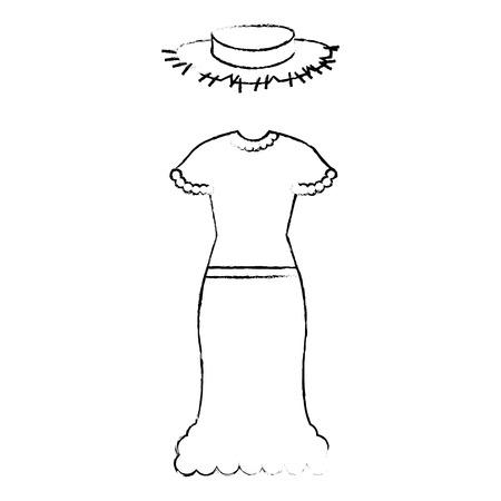 Female Typical farmer costume icon vector illustration design