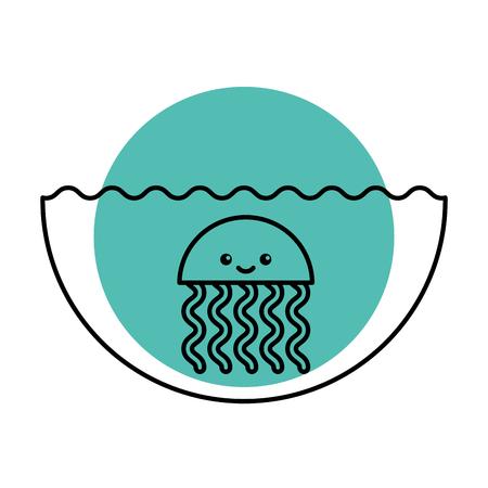 cute jellyfish sealife icon vector illustration design 向量圖像