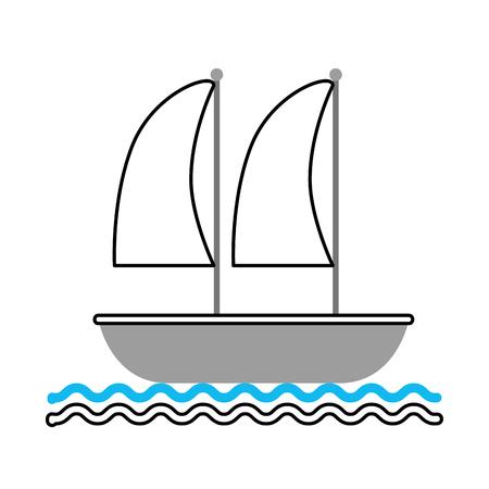 ヨット海洋隔離されたアイコン ベクトル イラスト デザイン 写真素材 - 80792237