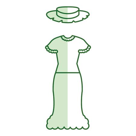 典型的な農家の女性衣装アイコン ベクトル イラスト デザイン