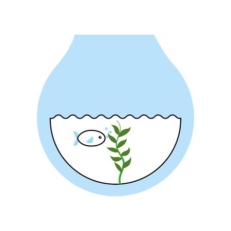 simple life: fishs in aquarium icon vector illustration design
