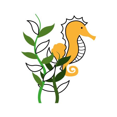 cute seahorse isolated icon vector illustration design Illustration