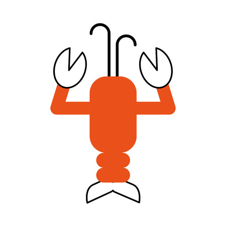 cute lobster sealife character vector illustration design Çizim