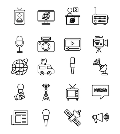 icons set news objects illustration vector design graphic
