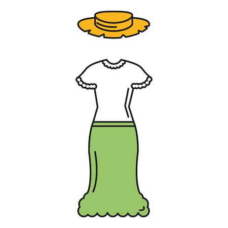 female Typical farmer costume icon vector illustration design Ilustrace