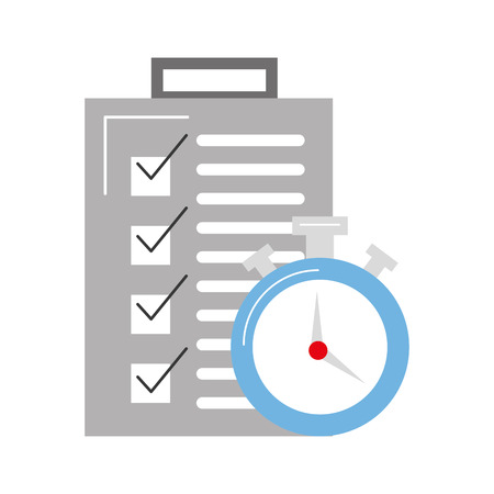 shipments: checklist order delivery service with chronometer vector illustration design