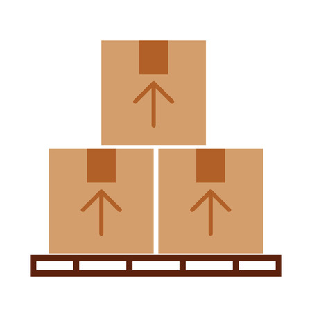 pile boxes in stowages carton delivery icon vector illustration design