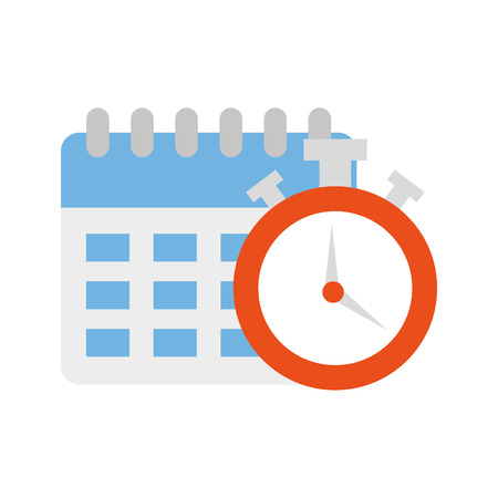 calendar reminder with chronometer isolated icon vector illustration design