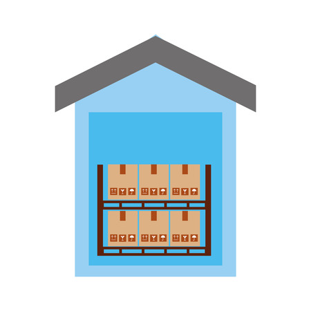 warehouse: pile boxes carton in warehouse delivery icon vector illustration design Illustration