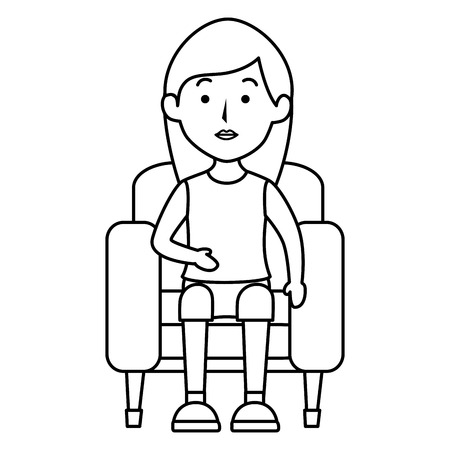 Young woman sitting on sofa vector illustration design
