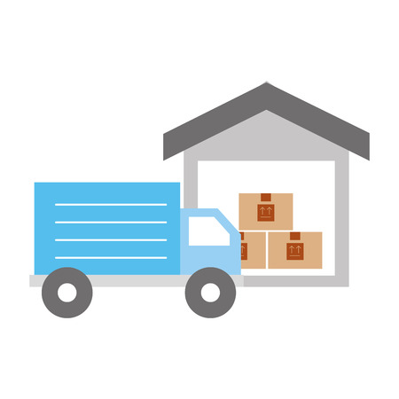 warehouse: truck delivery with warehouse service icon vector illustration design Illustration